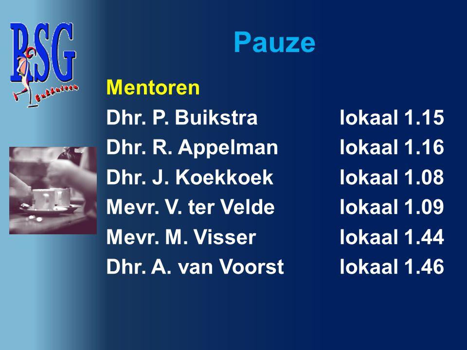 Pauze Mentoren Dhr. P. Buikstra lokaal 1.15 Dhr. R. Appelmanlokaal 1.16 Dhr. J. Koekkoek lokaal 1.08 Mevr. V. ter Velde lokaal 1.09 Mevr. M. Visserlok