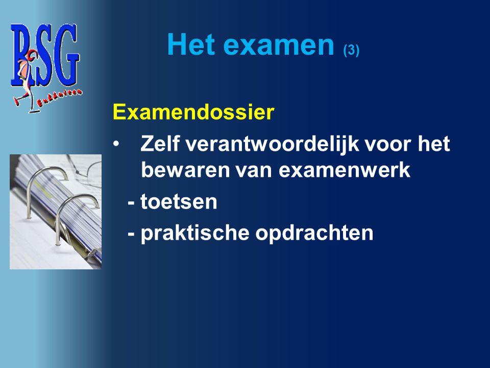 Het examen (4) Examen Toetsweek 1 (6 t/m 9 nov.) Toetsweek 2 (22 t/m 25 jan.) Toetsweek 3 (13 t/m 18 maart) Herkansingen (17 en 18 april) Centraal examen (13 t/m 29 mei) Herexamens (17 en 18 juni) Diploma-uitreiking (28 juni)