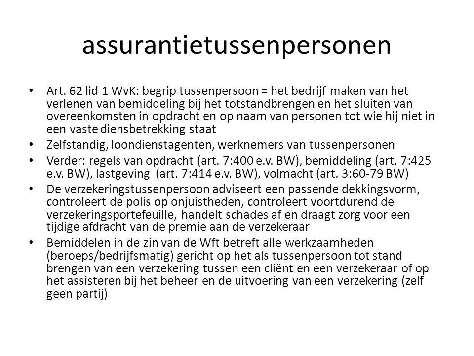 assurantietussenpersonen Art. 62 lid 1 WvK: begrip tussenpersoon = het bedrijf maken van het verlenen van bemiddeling bij het totstandbrengen en het s