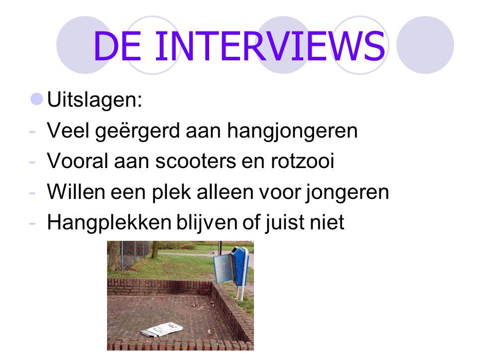INTERVIEW DESKUNDIGEN: 1 Sophia Lenssen -Geen probleem met hangjongeren -Alleen drugsdealers wat daar wel eens gebeurd -Denkt ouderen wel een probleem met hangjongeren