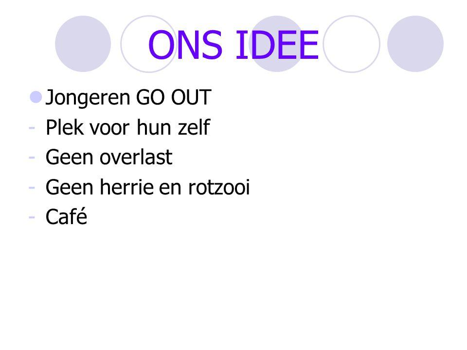 ONS IDEE Jongeren GO OUT -Plek voor hun zelf -Geen overlast -Geen herrie en rotzooi -Café