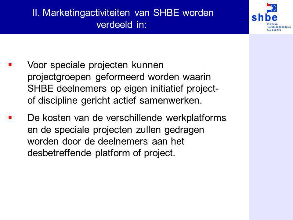 Voor speciale projecten kunnen projectgroepen geformeerd worden waarin SHBE deelnemers op eigen initiatief project- of discipline gericht actief sam
