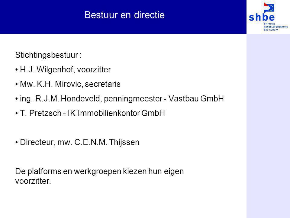 Bestuur en directie Stichtingsbestuur : H.J. Wilgenhof, voorzitter Mw. K.H. Mirovic, secretaris ing. R.J.M. Hondeveld, penningmeester - Vastbau GmbH T