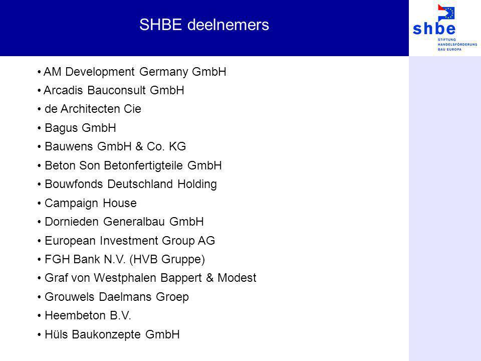 SHBE deelnemers AM Development Germany GmbH Arcadis Bauconsult GmbH de Architecten Cie Bagus GmbH Bauwens GmbH & Co. KG Beton Son Betonfertigteile Gmb
