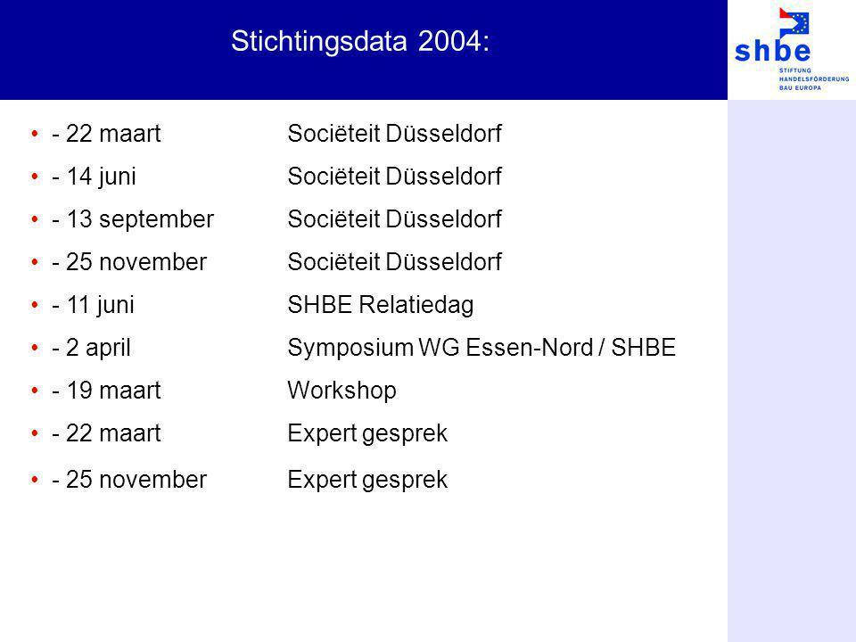 Stichtingsdata 2004: - 22 maartSociëteit Düsseldorf - 14 juniSociëteit Düsseldorf - 13 septemberSociëteit Düsseldorf - 25 novemberSociëteit Düsseldorf