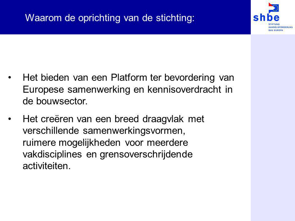 Het bieden van een Platform ter bevordering van Europese samenwerking en kennisoverdracht in de bouwsector. Het creëren van een breed draagvlak met ve