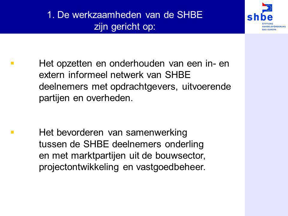  Het opzetten en onderhouden van een in- en extern informeel netwerk van SHBE deelnemers met opdrachtgevers, uitvoerende partijen en overheden.  Het