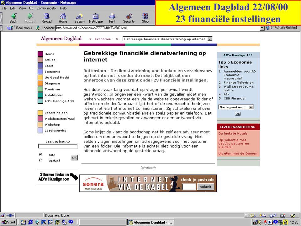 Algemeen Dagblad 22/08/00 23 financiële instellingen