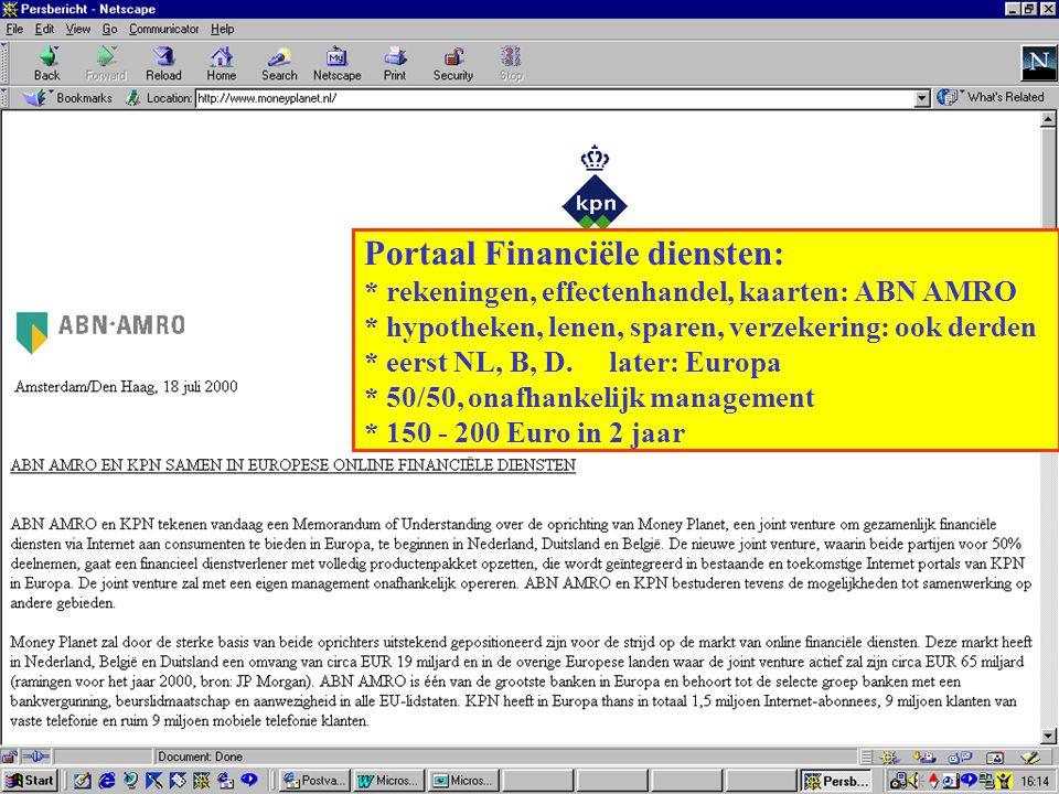 Portaal Financiële diensten: * rekeningen, effectenhandel, kaarten: ABN AMRO * hypotheken, lenen, sparen, verzekering: ook derden * eerst NL, B, D. la