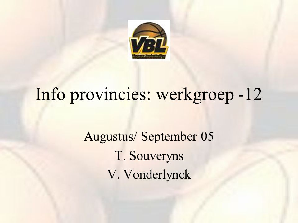 Info provincies: werkgroep -12 Augustus/ September 05 T. Souveryns V. Vonderlynck