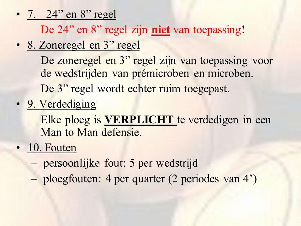 """7.24"""" en 8"""" regel De 24"""" en 8"""" regel zijn niet van toepassing! 8. Zoneregel en 3"""" regel De zoneregel en 3"""" regel zijn van toepassing voor de wedstrijd"""