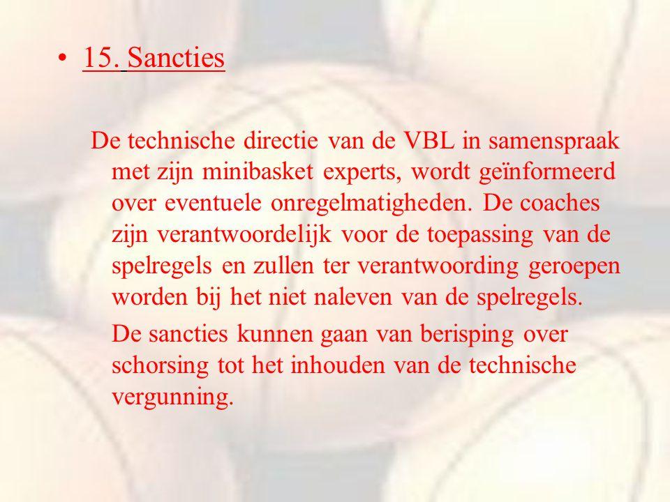 15. Sancties De technische directie van de VBL in samenspraak met zijn minibasket experts, wordt geïnformeerd over eventuele onregelmatigheden. De coa