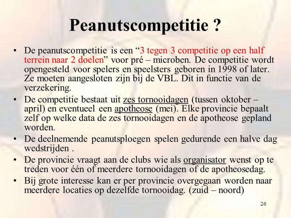 """26 Peanutscompetitie ? De peanutscompetitie is een """"3 tegen 3 competitie op een half terrein naar 2 doelen"""" voor pré – microben. De competitie wordt o"""