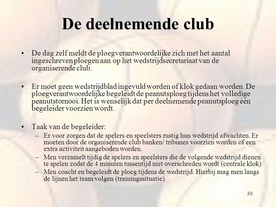30 De dag zelf meldt de ploegverantwoordelijke zich met het aantal ingeschreven ploegen aan op het wedstrijdsecretariaat van de organiserende club. Er