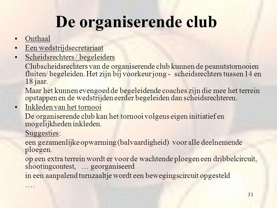 31 Onthaal Een wedstrijdsecretariaat Scheidsrechters / begeleiders Clubscheidsrechters van de organiserende club kunnen de peanutstornooien fluiten/ b