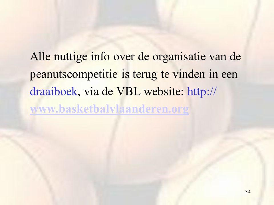 34 Alle nuttige info over de organisatie van de peanutscompetitie is terug te vinden in een draaiboek, via de VBL website: http:// www.basketbalvlaand