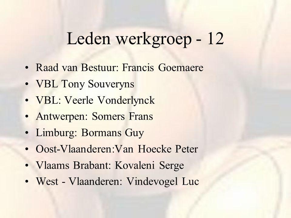 Leden werkgroep - 12 Raad van Bestuur: Francis Goemaere VBL Tony Souveryns VBL: Veerle Vonderlynck Antwerpen: Somers Frans Limburg: Bormans Guy Oost-V