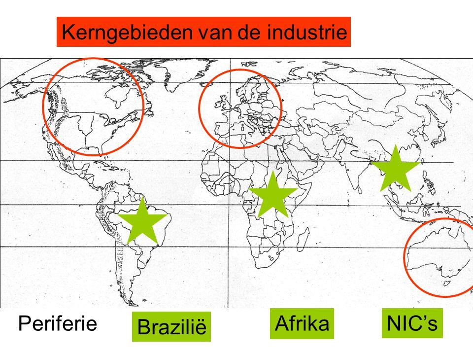 Kerngebieden van de industrie Brazilië Afrika NIC'sPeriferie