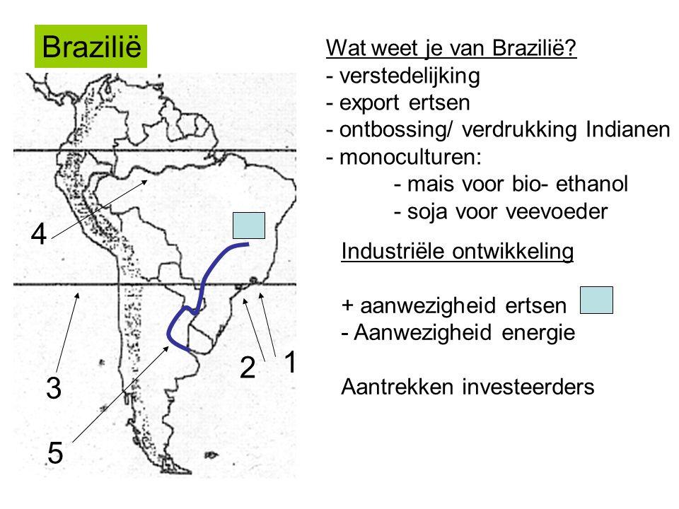 Brazilië Wat weet je van Brazilië? - verstedelijking - export ertsen - ontbossing/ verdrukking Indianen - monoculturen: - mais voor bio- ethanol - soj