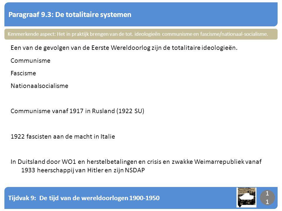Tijdvak 9: De tijd van de wereldoorlogen 1900-1950 11 Paragraaf 9.3: De totalitaire systemen 11 Een van de gevolgen van de Eerste Wereldoorlog zijn de