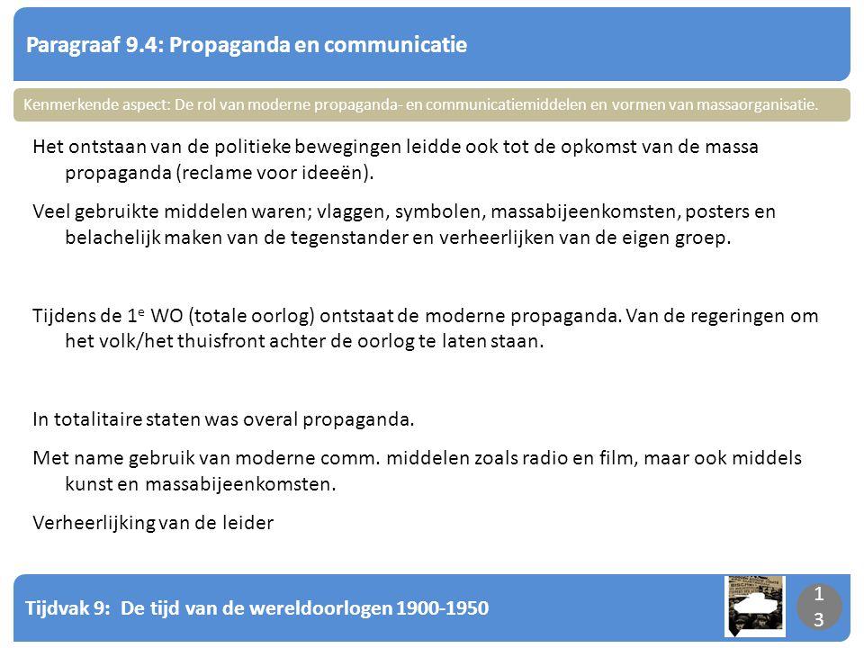 Tijdvak 9: De tijd van de wereldoorlogen 1900-1950 13 Paragraaf 9.4: Propaganda en communicatie 13 Het ontstaan van de politieke bewegingen leidde ook