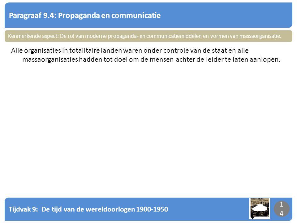 Tijdvak 9: De tijd van de wereldoorlogen 1900-1950 14 Paragraaf 9.4: Propaganda en communicatie 14 Alle organisaties in totalitaire landen waren onder