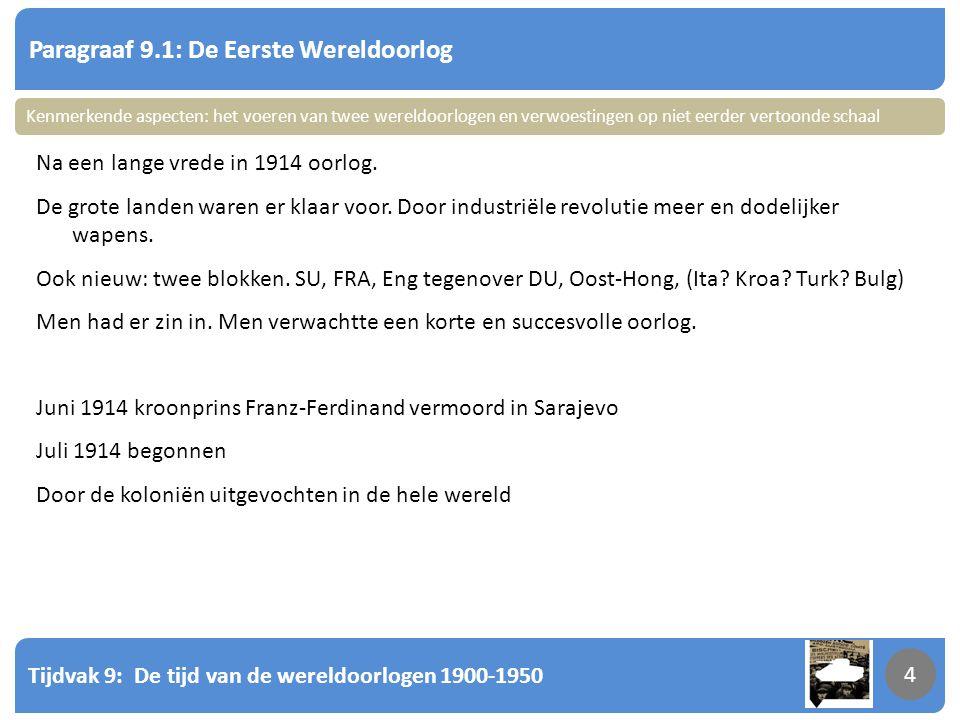 Tijdvak 9: De tijd van de wereldoorlogen 1900-1950 4 Paragraaf 9.1: De Eerste Wereldoorlog 4 Na een lange vrede in 1914 oorlog. De grote landen waren