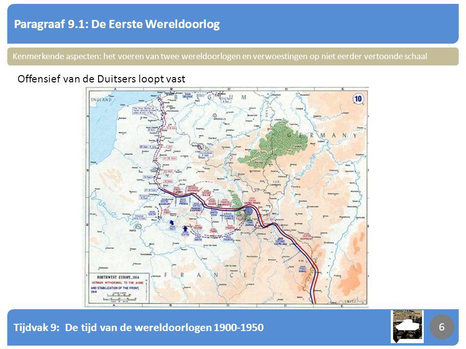 Tijdvak 9: De tijd van de wereldoorlogen 1900-1950 7 Paragraaf 9.1: De Eerste Wereldoorlog 7 Slag bij de Somme 420.000 Engelse soldaten gesneuveld Fra; ca 1.4 miljoen Eng; ca 700.000 Dtsl; ca 2.000.000 Rusl; ca 2.000.000 VS; ca 100.000 Totaal: ca 9.000.000 Kenmerkende aspecten: het voeren van twee wereldoorlogen en verwoestingen op niet eerder vertoonde schaal