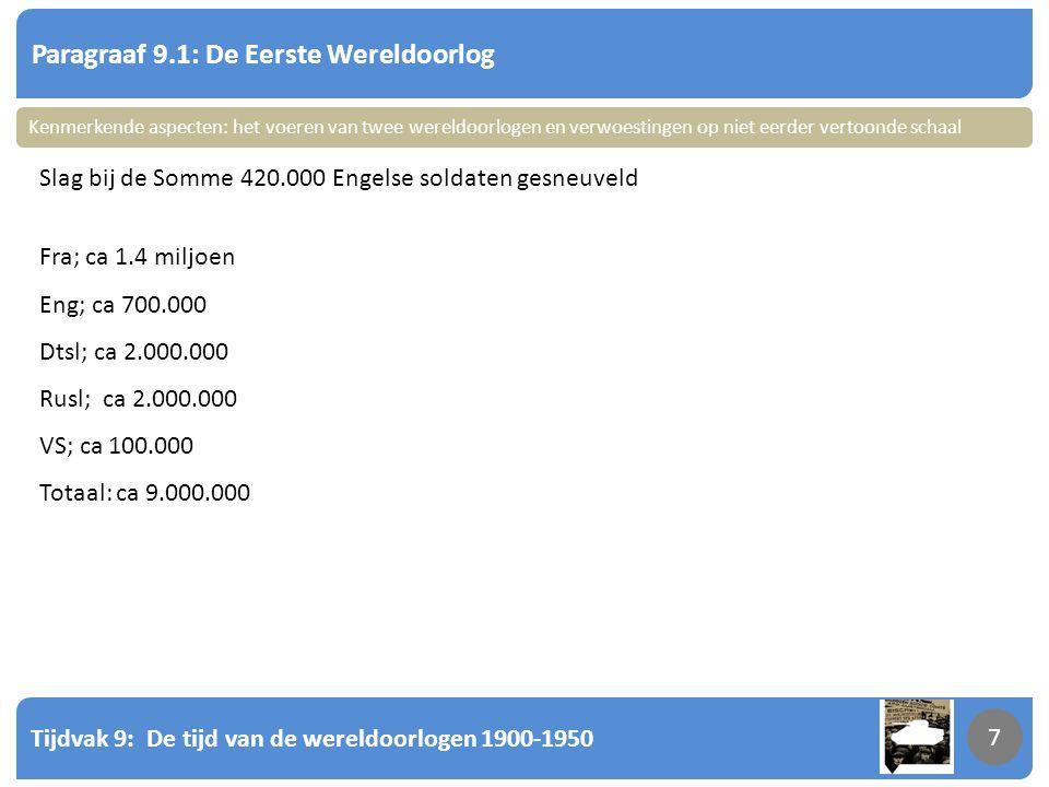 Tijdvak 9: De tijd van de wereldoorlogen 1900-1950 7 Paragraaf 9.1: De Eerste Wereldoorlog 7 Slag bij de Somme 420.000 Engelse soldaten gesneuveld Fra