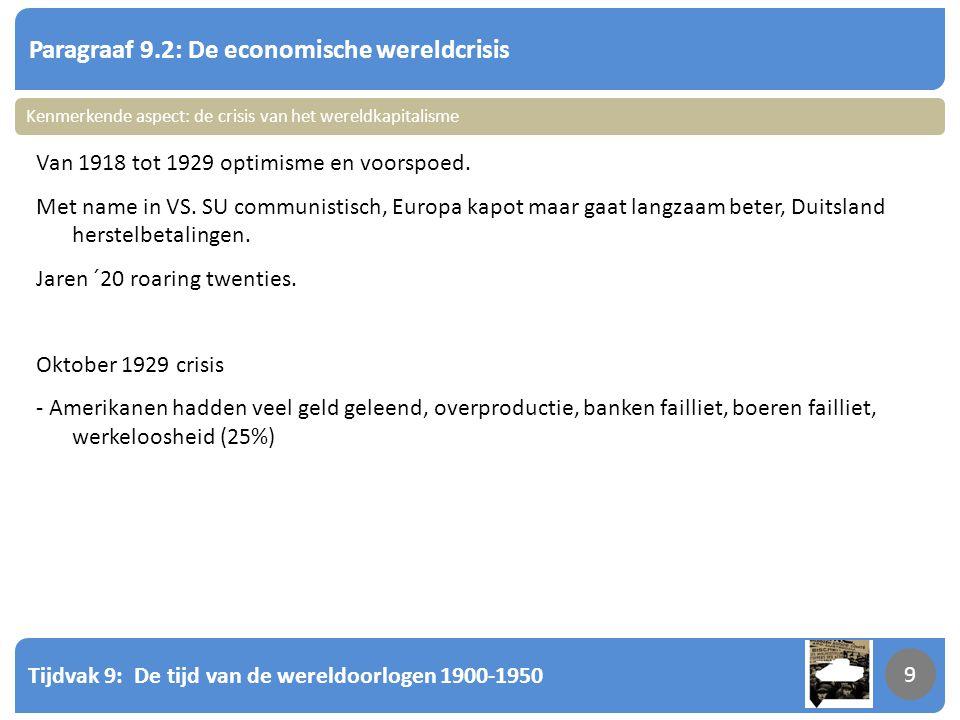 Tijdvak 9: De tijd van de wereldoorlogen 1900-1950 9 Paragraaf 9.2: De economische wereldcrisis 9 Van 1918 tot 1929 optimisme en voorspoed. Met name i