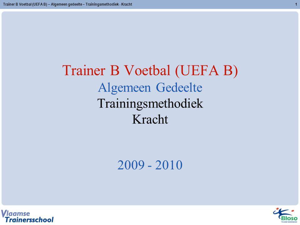 Trainer B Voetbal (UEFA B) – Algemeen gedeelte – Trainingsmethodiek - Kracht2 Kracht Definitie Visie Verschillende methodes en de oefenmodaliteiten Oefenmethode in functie van de krachteigenschap Aandachtspunten