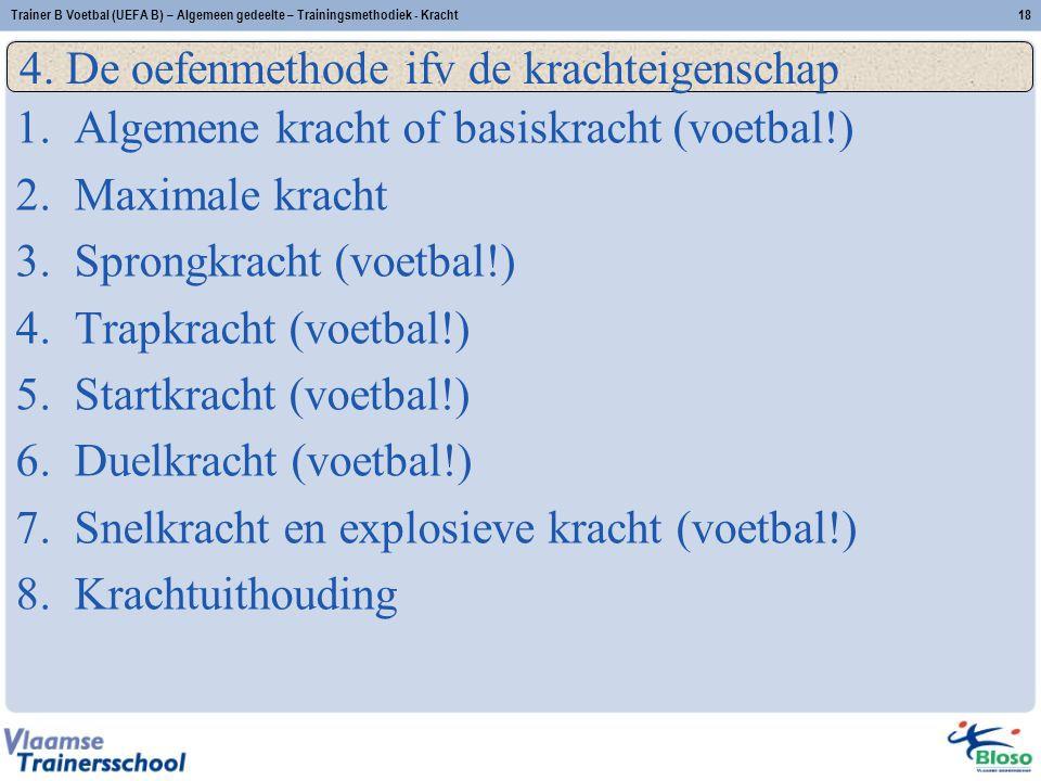 Trainer B Voetbal (UEFA B) – Algemeen gedeelte – Trainingsmethodiek - Kracht18 4.