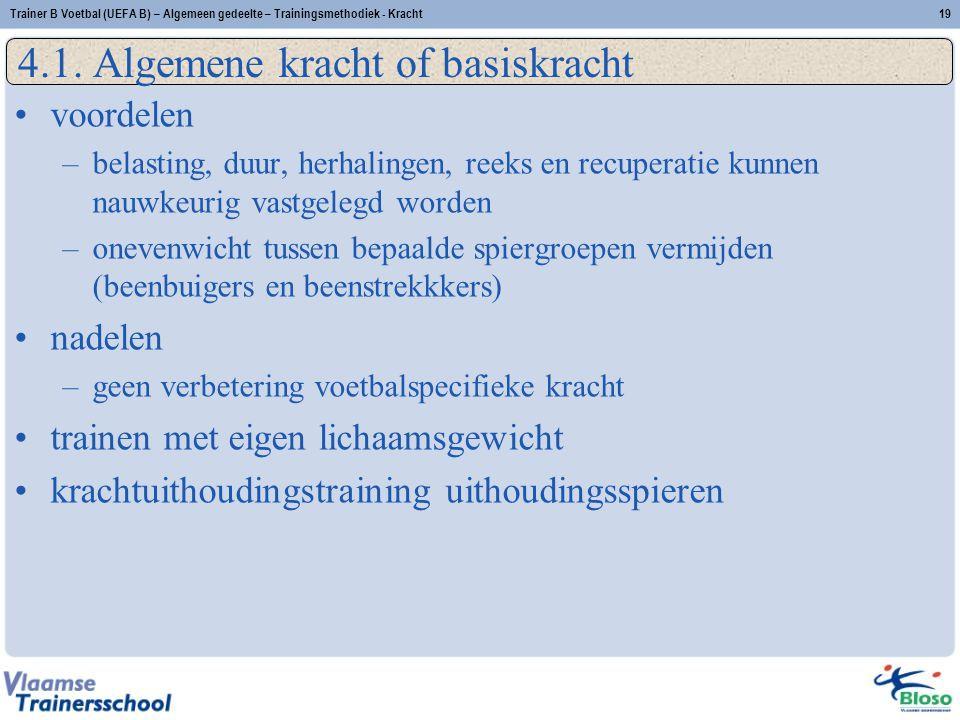 Trainer B Voetbal (UEFA B) – Algemeen gedeelte – Trainingsmethodiek - Kracht19 4.1.