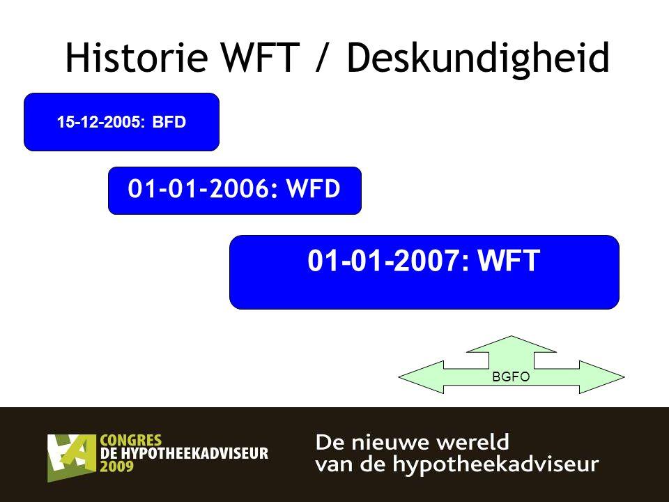 15-12-2005: BFD 01-01-2006: WFD 01-01-2007: WFT BGFO Historie WFT / Deskundigheid