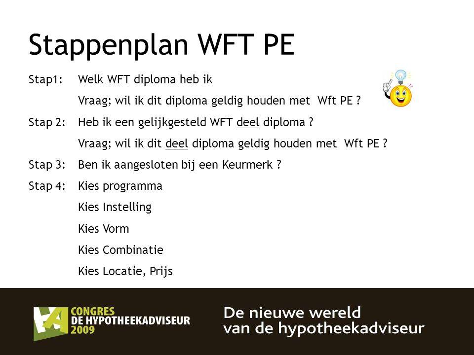 Stappenplan WFT PE Stap1: Welk WFT diploma heb ik Vraag; wil ik dit diploma geldig houden met Wft PE ? Stap 2: Heb ik een gelijkgesteld WFT deel diplo