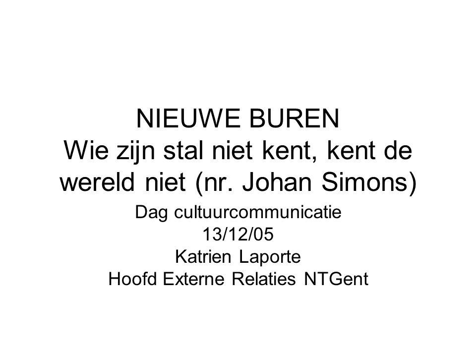 NIEUWE BUREN Wie zijn stal niet kent, kent de wereld niet (nr. Johan Simons) Dag cultuurcommunicatie 13/12/05 Katrien Laporte Hoofd Externe Relaties N