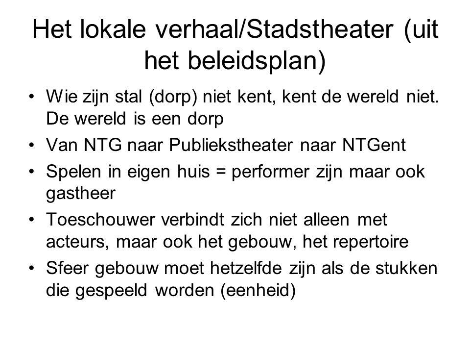 Het lokale verhaal/Stadstheater (uit het beleidsplan) Wie zijn stal (dorp) niet kent, kent de wereld niet. De wereld is een dorp Van NTG naar Publieks