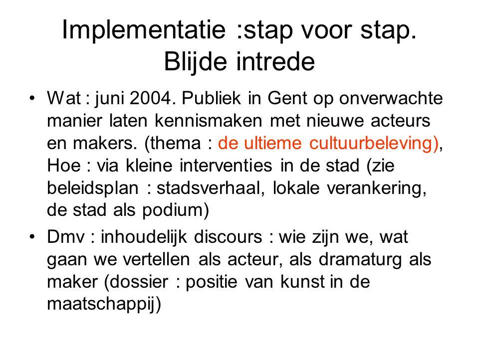Implementatie :stap voor stap. Blijde intrede Wat : juni 2004. Publiek in Gent op onverwachte manier laten kennismaken met nieuwe acteurs en makers. (