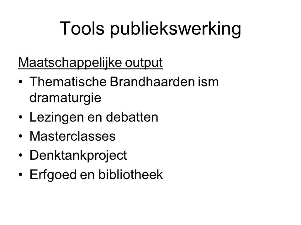 Tools publiekswerking Maatschappelijke output Thematische Brandhaarden ism dramaturgie Lezingen en debatten Masterclasses Denktankproject Erfgoed en b