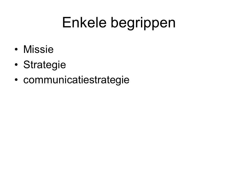 Enkele begrippen Missie Strategie communicatiestrategie