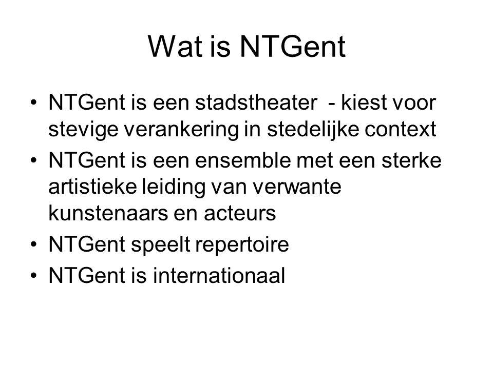 Wat is NTGent NTGent is een stadstheater - kiest voor stevige verankering in stedelijke context NTGent is een ensemble met een sterke artistieke leidi