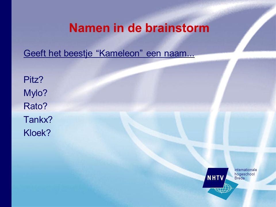internationale hogeschool Breda Namen in de brainstorm Geeft het beestje Kameleon een naam...