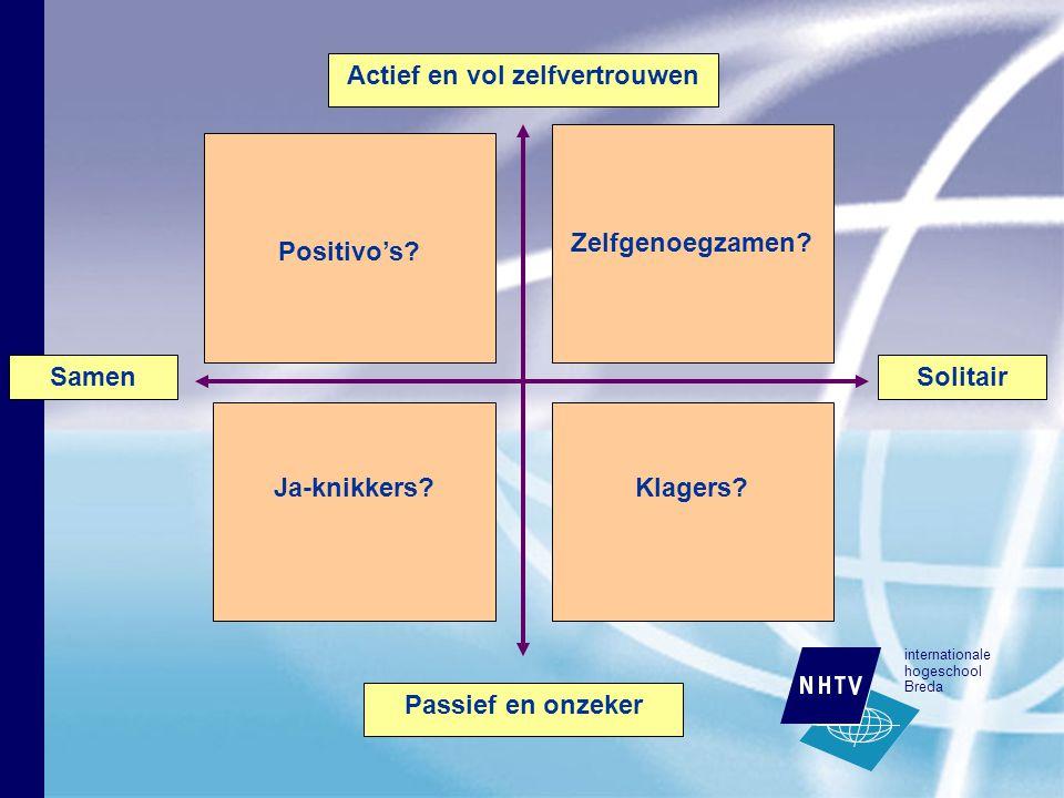 internationale hogeschool Breda Positivo's. Ja-knikkers Klagers.