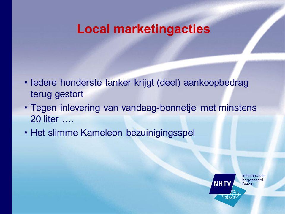 internationale hogeschool Breda Local marketingacties Iedere honderste tanker krijgt (deel) aankoopbedrag terug gestort Tegen inlevering van vandaag-bonnetje met minstens 20 liter ….