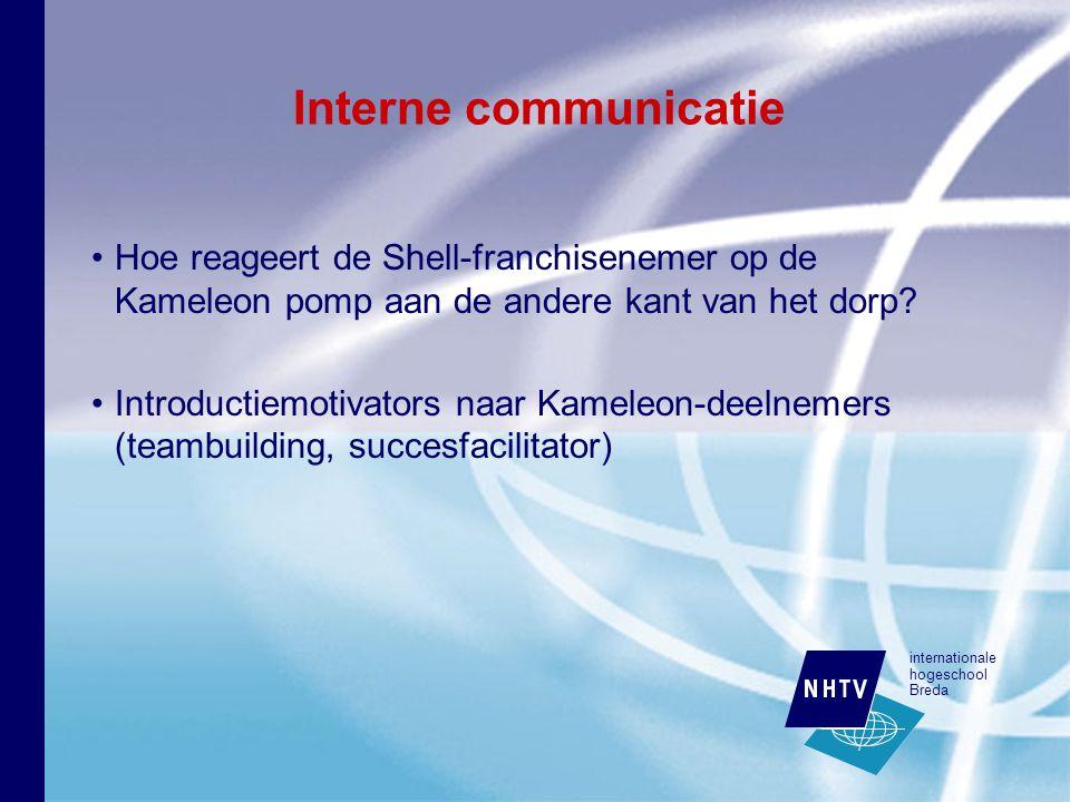 internationale hogeschool Breda Interne communicatie Hoe reageert de Shell-franchisenemer op de Kameleon pomp aan de andere kant van het dorp.