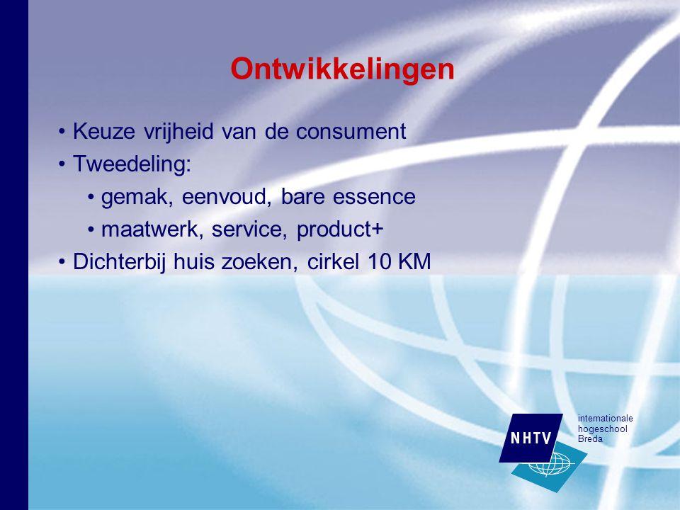 internationale hogeschool Breda Ontwikkelingen Keuze vrijheid van de consument Tweedeling: gemak, eenvoud, bare essence maatwerk, service, product+ Dichterbij huis zoeken, cirkel 10 KM