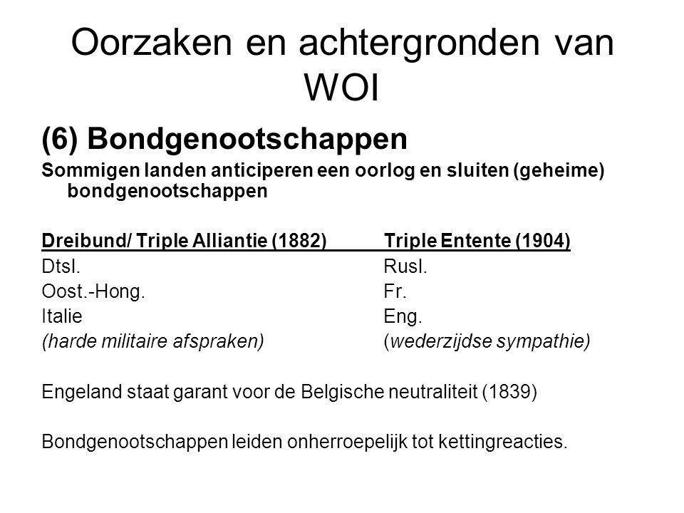 Oorzaken en achtergronden van WOI (6) Bondgenootschappen Sommigen landen anticiperen een oorlog en sluiten (geheime) bondgenootschappen Dreibund/ Trip