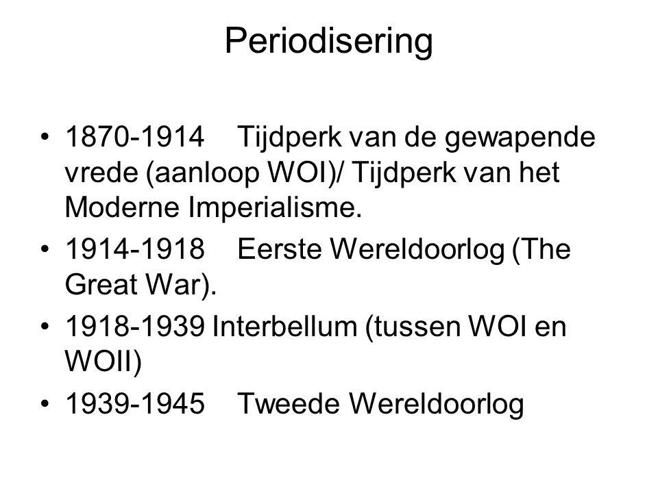 Periodisering 1870-1914Tijdperk van de gewapende vrede (aanloop WOI)/ Tijdperk van het Moderne Imperialisme. 1914-1918Eerste Wereldoorlog (The Great W