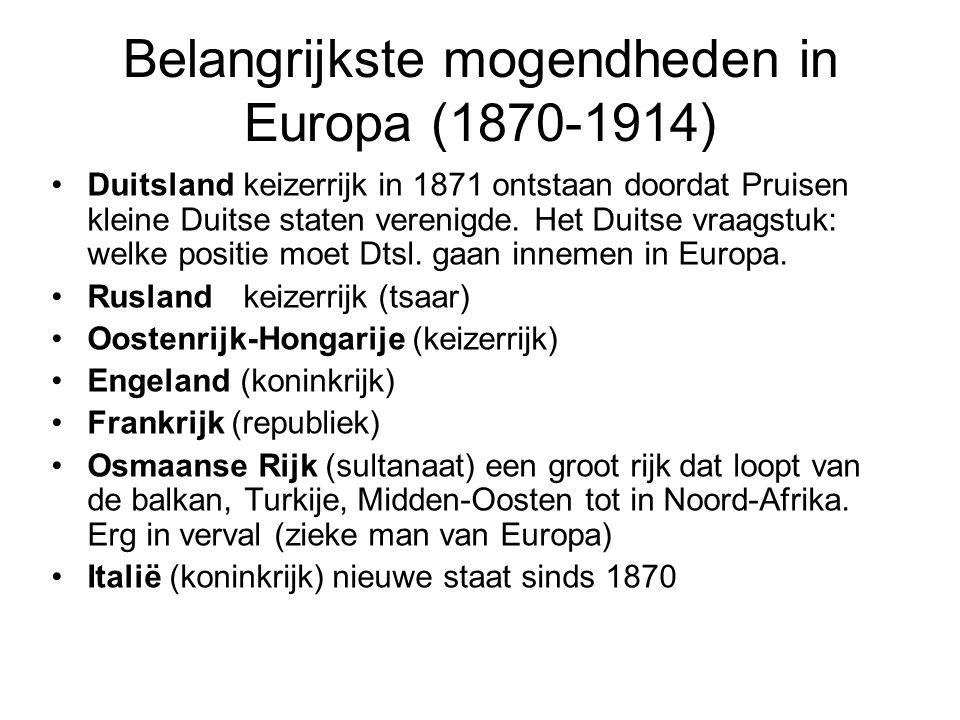 Belangrijkste mogendheden in Europa (1870-1914) Duitslandkeizerrijk in 1871 ontstaan doordat Pruisen kleine Duitse staten verenigde. Het Duitse vraags