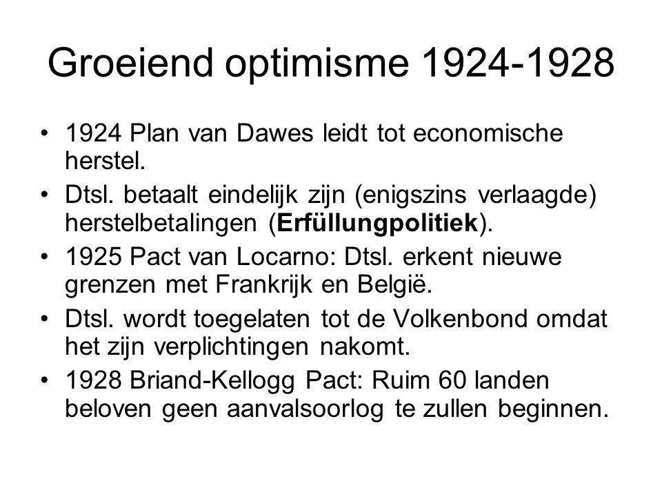 Groeiend optimisme 1924-1928 1924 Plan van Dawes leidt tot economische herstel. Dtsl. betaalt eindelijk zijn (enigszins verlaagde) herstelbetalingen (